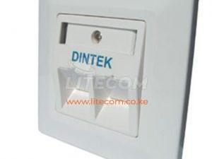 DINTEK 2 Port UK Style Angled Wall Plate With Shutter Kenya